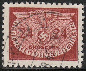 Stamp Germany Poland General Gov't Official Mi 21 Sc NO21 WW2 Occupation Used