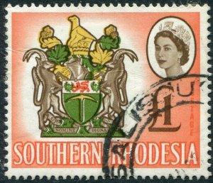 SOUTHERN RHODESIA-1964 £1 Brown, Y-Green, Buff & Salmon-Pink Sg 105 FU V48906