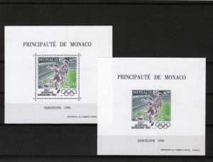 Monaco 1992 YT #Block 18 Barcelona Olympic/Football S/S Perf+Imperf.MNH