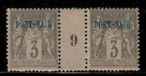 French Offices in Port Said Scott 3 Mint hinged Millesime pair #9 (CV 35 Euros)