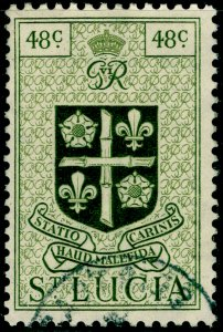 ST. LUCIA SG156, 48c olive-green, VERY FINE USED.