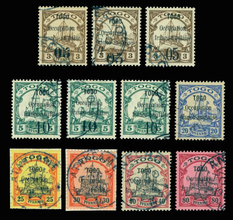 German Colonies - TOGO 1914 FRENCH OCCUPATION - Yacht SURCH. set Sc#151-162 used