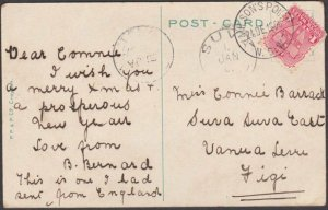 NEW SOUTH WALES TO FIJI 1906 postcard ex Milson's Point - Suva arrival.....D883