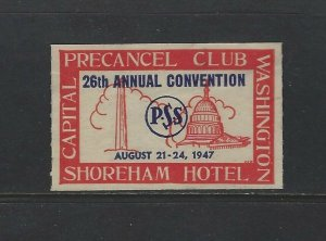 UNITED STATES - 1947 PRECANCEL CLUB CONVENTION POSTER STAMP MNH