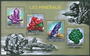 CENTRAL AFRICA 2014 MINERALS SHEET OF FOUR MINT NH