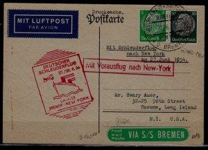 Germany Catapult card 27.6.34 Bremen-NY