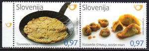 Slovenia. 2016. sc1231-32. National dishes gastronomy. MNH.