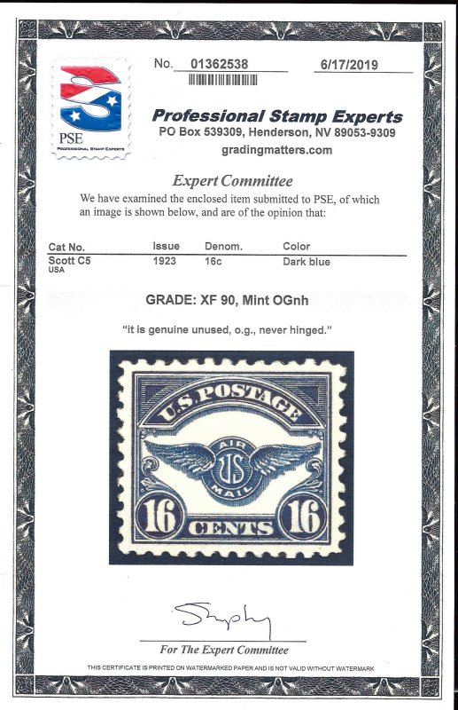 C5 Mint,OG,NH... PSE Graded XF 90... SMQ $225.00