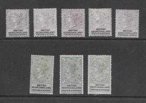 British Bechuanaland 11 to 18 w/watermarks - mh/mhh/mng Victoria