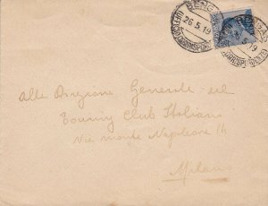 1919 Libya, N°7 25 Cent. Blue Isolated Su Letter Viaggiata For Milano