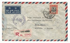 1947 China Inflation Cover, $2,300 European Airmail Rate in effect only 11 Days