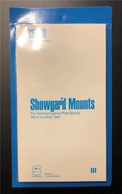 Stamp Mounts Supplies Showgard  New 10 mounts 127mm by 70mm Black back precut