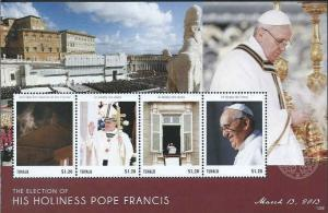 Tuvalu - Pope Francis - 4 Stamp Sheet - TUV1308