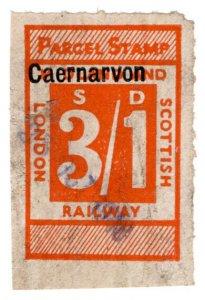 (I.B) London Midland & Scottish Railway : Parcel 3/1d (Caernarvon)
