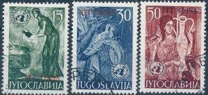 Stamp Yugoslavia Trieste Sc 76-8 1953 Woman Birds United Nations Set Used