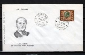 Italy, Scott cat. 887. Composer P. Mascagni issue on a First day cover. ^