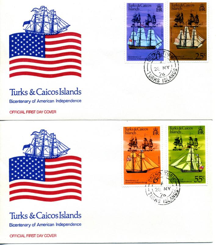1976 Turks & Caicos Islands Scott 311-314 American Independence FDC Ship Sail