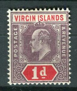 VIRGIN ISLANDS; 1904 early Ed VII issue fine Mint hinged Shade of 1d. value