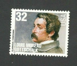 3165 Louis Moreau Gottschalk Composer US Single Mint/nh FREE SHIPPING