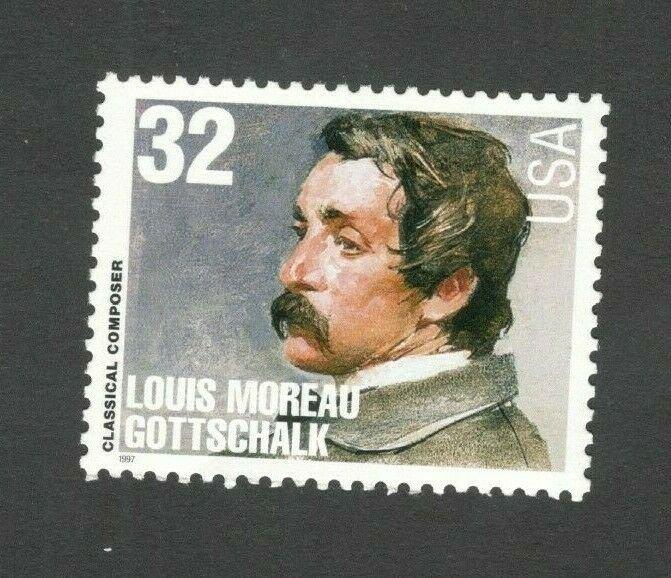 3165 Louis Moreau Gottschalk Composer US Single Mint/nh FREE SHIPPING