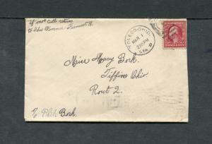 Postal History - Toledo Station OH 1910 Black Numeral Duplex Cancel Cover B0533