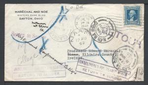 Scott #710, Dayton, OH to Ireland, Usages to Foreign Dest...