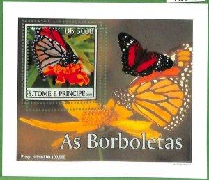 A0546 - S. TOME' & PRINCIPE -  ERROR  MISSPERF SHEET -  Butterflies  2004