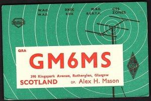 QSL QSO RADIO CARD GM6MS/Alex H. Mason/Rutherglen, Glasgow, Scotland (Q2148)