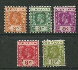 Ceylon -Scott 201-205 - KGV -Definitive- 1912- Mint - 5 Single Stamps