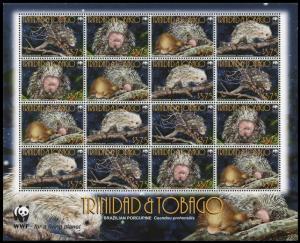 Trinidad and Tobago WWF Brazilian Porcupine Sheetlet of 4 sets MI#955-958