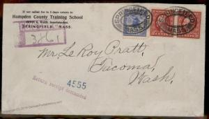 USA 1912 Springfield Mass 10c Registered Mail Return Receipt Stamp Cover 88130