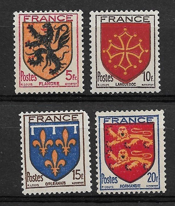 1944 France 467-70 Coat of Arms C/S of 4 MNH