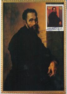 59093  - NICARAGUA - POSTAL HISTORY: MAXIMUM CARD 1974  -  ART Michelangelo