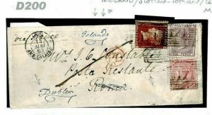 GB Scotland Cover 3-COLOUR FRANKING *Poste Restante* 1860 Forwarded Ireland D200