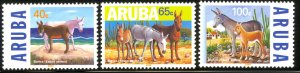 ARUBA 1999 ENDANGERED ANIMALS Donkeys Set Sc 167-169 MNH
