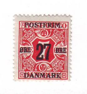 Denmark Sc 147 1918 27 ore ovpt on 7 ore stamp  mint