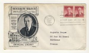 US - 1956 - Scott 1040 FDC - 7c Pdt. Woodrow Wilson - Pair