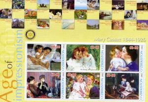 UZBEKISTAN 2002 Mary Cassatt Paintings Rotary Sheet Perforated mnh.vf