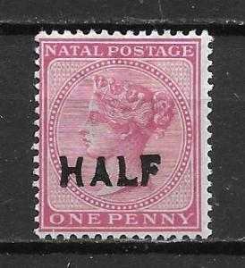 Natal 80 1/2d on 1d Victoria single MH (z3)