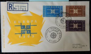 Cyprus 1963 FDC europa cept registed to italy good used postal