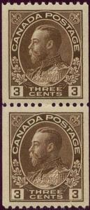 Canada USC #134 Mint Pair 1921 3c Brown Coil Lower Stamp NH -VF