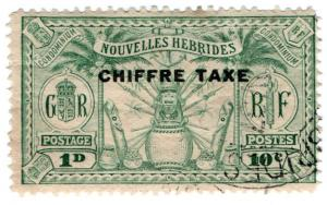 (I.B) New Hebrides Revenue : Duty (Chiffre) 1d