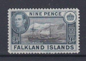 FALKLAND ISLANDS  1938 - 50 SG  157  9D BLACK & GREY BLUE MH