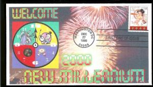 UNITED STATES FDC 33¢ New Millenium Baby New Year 1999 Juvelar
