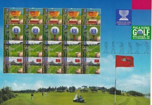 Malaysia # 761a, World Cup Golf, Sheet with 5 Strips, NH, 1/2 Cat.