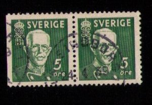 Sweden Sc 278a/278 Used (Facit #266bc) Vert. Pair 1938 Very Fine