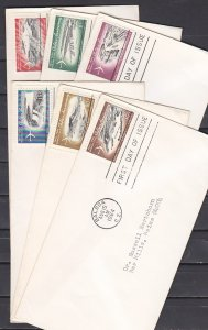 Canal Zone, Scott cat. C36-C41. Jet Plane over Canal. 6 First day covers. ^