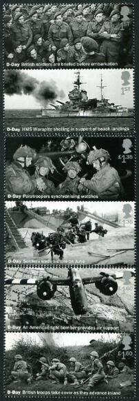HERRICKSTAMP NEW ISSUES GREAT BRITAIN Sc.# 3853-58 D-Day Anniv. Gutter Pairs