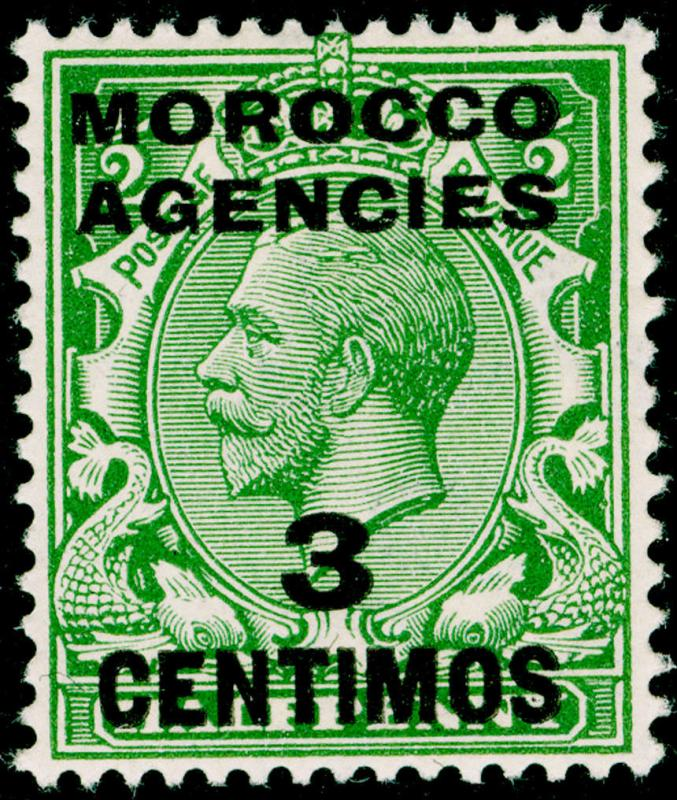MOROCCO AGENCIES SG128, 3c on ½d green, LH MINT.