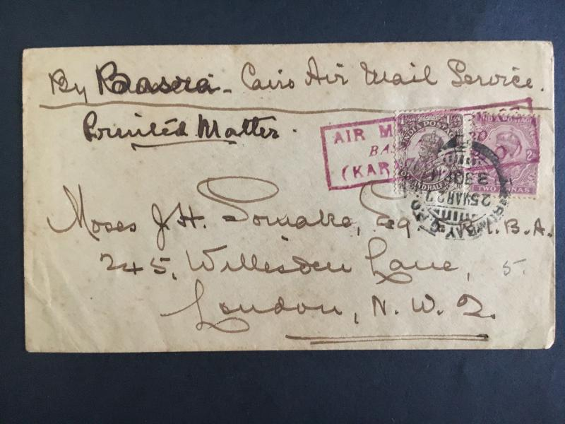 1927 Karachi India First flight cover FFC Imperial Airways to Cairo Egypt Basra